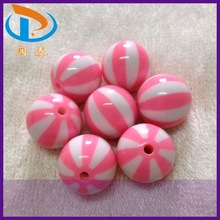 High Quality 20MM Pink Color Watermelon Strips Print Acrylic Solid Round Gumball Beads