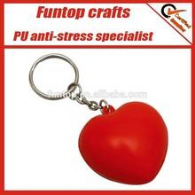 PU foam promotional give away logo print red heart stress keyring