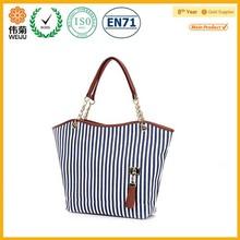 Fashion summer beach vertical stripe women canvas pattern shoulder bag