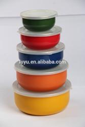 different color enamel storage bowl set mixing bowl salad bowl food container enamel bowl