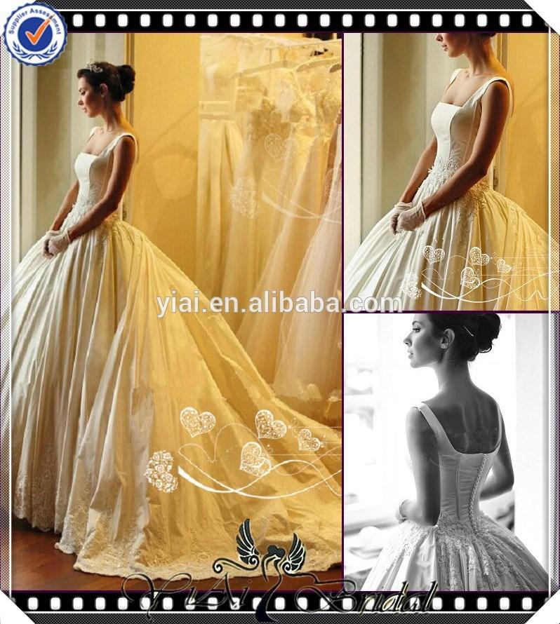 jj3725 inchado de contas bola vestido de tribunal de cauda longa vestido de noiva tradicional na frança