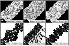 Guangzhou Sequined Fabrics Lace Trim For Underwear/Accept MOQ Lace Applique Trims Collar