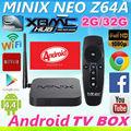 Android tv por satélite receptor caixa xbmc minix neo z64 android 4.4.4 amlogic quad- núcleo de smart tv hd mini caixa do pc 2gb 32gb