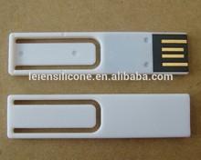 OEM white paper clip usb flash drive, bookmark plastic usb pendrive 2.0. high speed usb flash