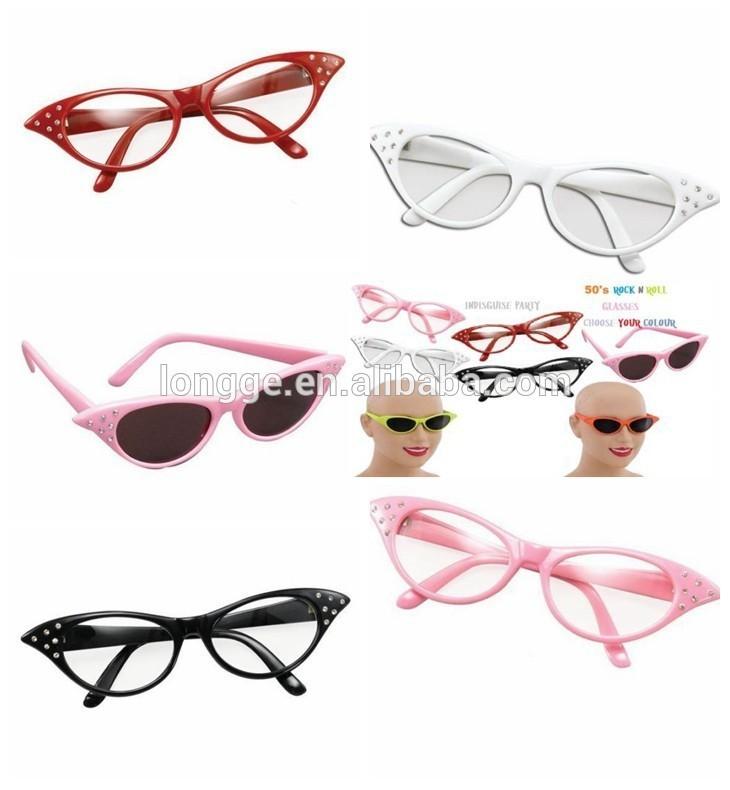 Anni'50 rosa occhiali da sole donna costume grasso tonalità 50s scuro lente occhiali da sole