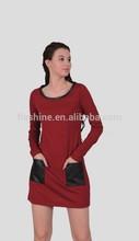 The Merino o-neck long sleeve dress of Women