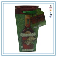 2015 hot selling custom colorful style gift double wine packing paper bag with handle different color