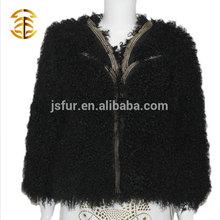 Wholesale Brand Design Lady's Genuine Mongolian Lamb Fur Jacket Coat for Women