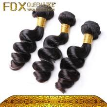Good feedback natural black loose wave lady human hair weave