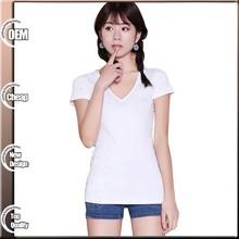 2015 Fashion Ladies Short Sleeve White Stylish Plain t-shirt