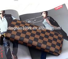 2015 Factory direct classical zipper long leather men travel wallet
