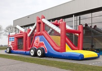 Hot sale,Red,Giant and great inflatable obstacle run fire truck for children
