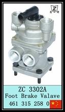 Foot brake valve for truck brake