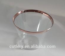EC-02 plastic tumbler glass with gold rim