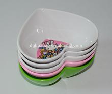cute heart shape melamine bowl with cartoon artworks