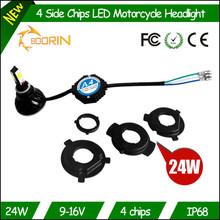 Motorcycle accessories h4 hi / lo 12v cob 24w 2400lm universal bajaj pulsar 180 motorcycle headlight