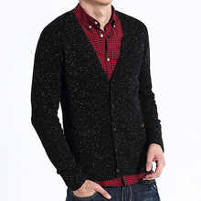 15ASW1026 Fashion mens white dots cardigan sweater