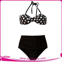 Wholesale Black Dot Design Sexy Crochet Bikini Swimwear