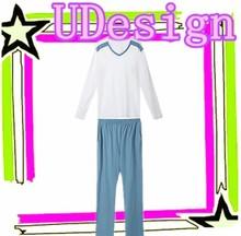 Custom pullover long pants pajama set mens sleepwear cotton pajama