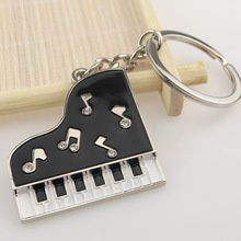 Custom Keychain ,Wholesale Zinc Alloy Piano Shaped Small Keychain Clock