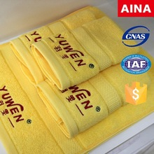 Yuwen Logo face towel, 16S spiral yarn,sateen ,yellow bath towel