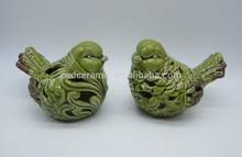 Popular Stoneware couple green bird decoration