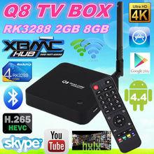 New Arrival ! Q8 RK3288 Android tv box Quad Core 2GB+16GB 4K*2K Mail-T7 5.8GHZ Dual WiFi DLNA 1080P Bluetooth Webcam VGA output