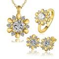 Sj aliexpess s424-a fabricación diseño único de níquel y sin plomo chapado en oro de novia flor joyería conjunto con circones