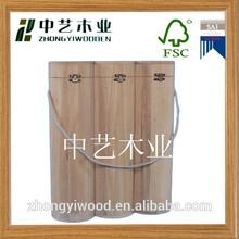 top grade natural wholesale custom cheap pine 3 bottles wooden wine bottle boxes/wooden wine case
