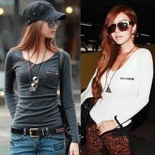 2015 Fashion New Korean Fashion Women's Top Long Sleeve Punk Sexy T-Shirt Tee SV007514