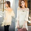 2015 nuevo de la moda las mujeres top de encaje de moda fuera de honda hombro blusas de gasa sv007689 camisa