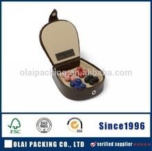 Custom hand made leather fashion rectangular cufflink box buy box