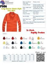Hot sales 2015 Customized Logo 220 grams Long Sleeves Polo Shirt