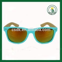 Custom logoHalf wooden bamboo patten mirror lens wayfarer frames interchangeable sunglasses of temple