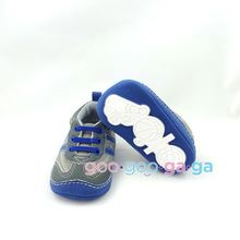 baby boy Athletic sneakers gray and blue crib shoes sport infant shoes