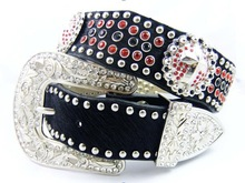 Hot sale fashion womens black belt with silver buckle