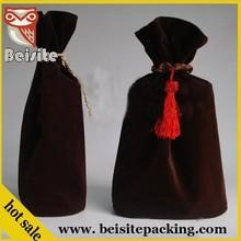 High Quality wine velvet pouch bags logo