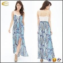 Oem de verano playa paisley m- raja maxi vestido de cintura elástica ajustable correas vestido de hawaiano para las mujeres