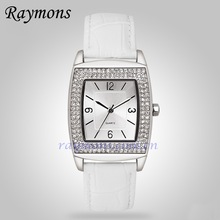 Wholesale stone studed sun pattern face square shaped watches for women