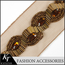 Yellow Color Saree Embroidery Handmade Collar Bead Trim for Diy Garment 2016