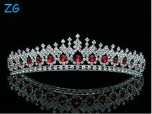 Bridal Pageant Wedding Rhinestones Crystal Tiara Crown - Silver Plated Red Crystals