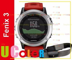 Genuine New Garmin Fenix 3 GPS Watch with HRM-RUN Silver / Red