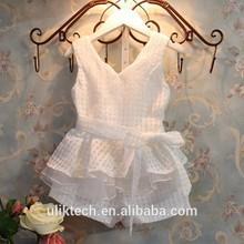wholesale fashion children clothing set white overlay t shirt with short pants cheap girls clothing set
