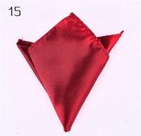 50 pcs/pack Fashion Chic Mens Satin Hankerchief Hanky Plain Solid Color Pocket Square 18 colors