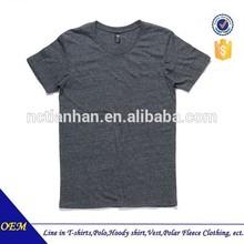 Short sleeve round neck heather grey black cotton men's t shirt