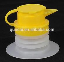 Plastic BIB spout cap Yellow/Blue Pouring Spout, sealed pouring spout cap for cooking oil