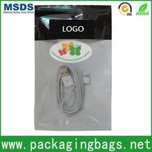 USB cable plastic zipper packaging bag/flat custom printed zipper bag