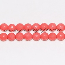 SP2293 Wholesale Genuine Pink Faceted Rounds Coral Beads For Sale