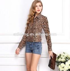 2015 leopard print women shirt online clothing shop
