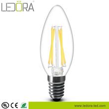 Hot sale!! 1.8w 3.5w All glass no plastic Dimmable Filament E12 E14 led candle bulb
